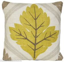 Leaf Cushion Cover Osborne & Little Printed Linen Fabric Delphine Green Taupe