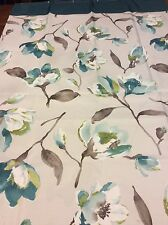 Floral Fabric Shower Curtain Jade Green, Taupe, Brown & White NIP