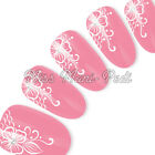Nail Art Water Decals Transfers Stickers White Tropical Flowers Lace Henna S002