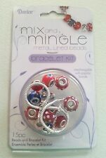 MIX AND MINGLE METAL LINED BEADS BRACELET KIT-PATRIOTISM-EUROPEAN-GIFT-USA