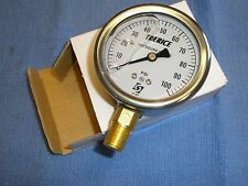 100 PSI Stainless Gauge Air Water Pressure Liquid Filled Trerice D82LFB 2-1/2""