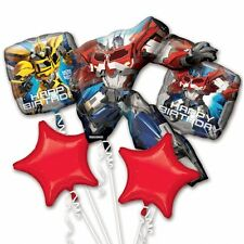 Transformers Birthday Party Favor Supplies 5CT Foil Balloons Bouquet