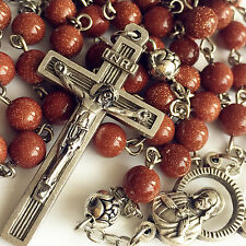 GOLD JADE BEADS SILVER BEAD ROSARY CROSS /MEDAL/ NECKLACE CRUCIFIX CATHOLIC