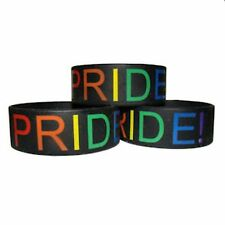 Gay Pride Silicone Bracelet Wide Band PRIDE