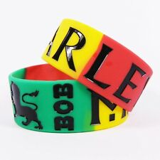 BOB MARLEY Silicone Rubber Wristbands Wide Bracelets Colorful