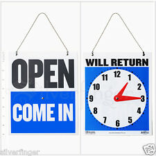 """• OPEN CLOSED Sign / WILL RETURN + CLOCK : Business Hours —Hanging 2-Sided 9x7½"""""""