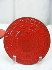 Vintage Frankoma Pottery Red Orange Trivet Sequoyah Cherokee Alphabet 7 TR