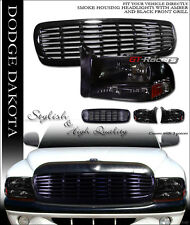 SMOKE CRYSTAL HEAD LIGHTS SIGNAL AM 1PC+BUMPER GRILL GRILLE 97-04 DAKOTA/DURANGO