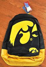 Iowa Hawkeyes BackPack / Back Pack Book Bag NEW NCAA - TEAM COLORS BIG LOGO