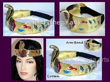 2-Pc Set Cleopatra Cobra Snake Serpe Crown and Arm Band Egypt Halloween Costume