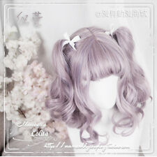 Woman Short Wig Sweet Girl Princess Cosplay Lolita Purple Gradient Kawaii Curly