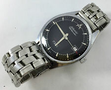Rare Vintage Atlantic Worldmaster Black Men's Manual Watch 17 Jewels Swiss Used