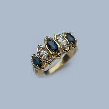 Marquise Shaped Sapphire/Diamond Gold Ring