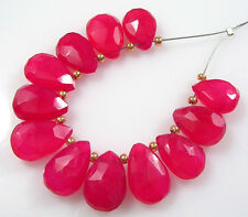12 FUSCHIA HOT PINK CHALCEDONY FACETED PEAR BRIOLETTE BEADS 10 mm C63