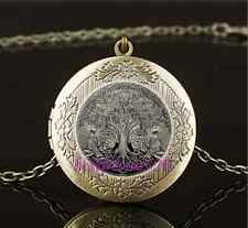 Vintage Celtic Wolf Tree Of Life Glass Brass Chain Locket Pendant Necklace#L77