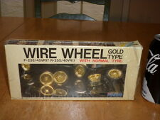 RUBBER TIRES & GOLD COLORED PLASTIC WIRE WHEELS, Model Car Parts Kit,SCALE 1/24