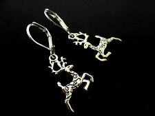 A PAIR OF CUTE LITTLE TIBETAN SILVER REINDEER LEVERBACK HOOK EARRINGS. NEW.