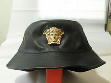 Medusa gold 3D medallion patent faux leather fashion bucket hat cap one size M