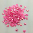 NEW 50pcs 10mm DIYHeart-Shaped Pearl Bead Flat Back Scrapbook For Craft Pink