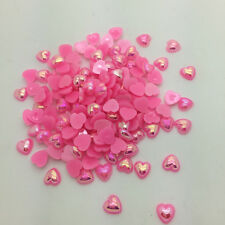 New 50pcs 10mm Heart-Shaped Pearl Bead Flat Back Scrapbook For Craft Pink