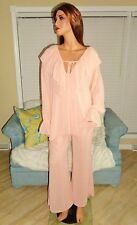 Feminine women's peach chiffon pajama set lingerie by Victoria's Secret sz S