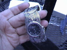 """cute vivani cuff watch 1"""" 8"""" band black face silver tone numbers and fancy band"""