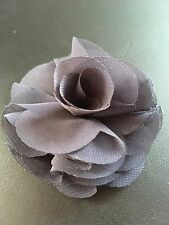 Organza Rose Dark Gray Bow Craft Sew on Fabric Flower Rose Ribbon 3""