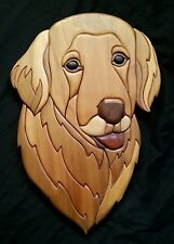 """Hand crafted exotic Intarsia wood art plaque """"Golden Retriever"""" by Mike Phillips"""