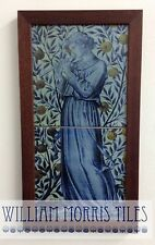 William Morris Minstrels Recorder  Framed 2 Tile Panel Hand Made Kiln Fired