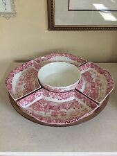 Antique Lazy Susan Landscape W.R. Midwinter England Pink