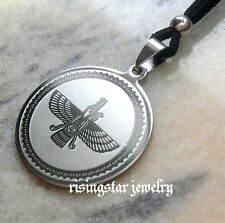Unique Ancient Persian Faravahar Zoroastrian Stainless Steel Adjustable Necklace