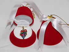 Christmas Ornament Multicolor Rhinestone Necklace W.Free Red Velvet Bell Gft Box