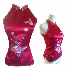 Chinese halter top Dress Qipao Cheongsam blouse Oriental  size US 4 RED