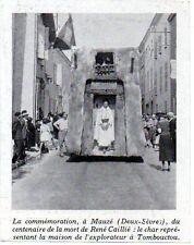 1938  --  MAUZE   COMMEMORATION DU CENTENAIRE DE LA MORT DE RENE CAILLE  3L104