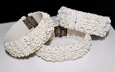 Set of 3 Vintage Wedding Cake Celluloid Featherlite Molded Hinged Bracelets 1950
