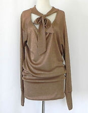 LM LuLu Tunic Metallic Gold Scarf Tie Neck Long Sleeve Loose Fit Size M France