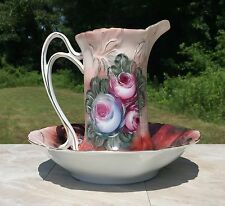 Red & Pink Vintage Floral Porcelain Pitcher & Wash Basin Set