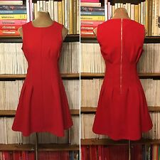 TOPSHOP TALL red dress UK10 US6 fit flare skater sleevess paperbag