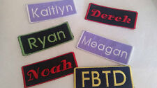 Custom Embroidered Name Patch Iron On 1 3/4 x 3 3/4 Biker Tag Fabric Label