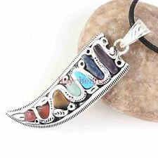 Classic Silver Plated 7 Gemstone Beads Horn Healing Point Chakra Pendant Jewelry