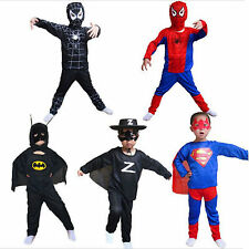 Kids Superhero Spider-Man Batman Cosply Fancy Dress Costume Halloween Outfit L
