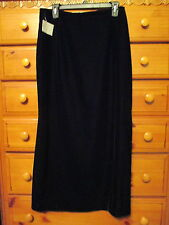 Womens LIZ CLAIBORNE Lizsport Black Velvet Long Lined Zip Skirt Sz 10 New w Tags