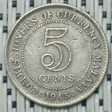 *GOOD Grade* 1941(i) - Malaya - 5 Cents George VI Silver #CNI