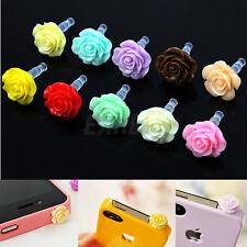 10x Tappo Antipolvere Stopper Plastico Cuffie con Fiore Rosa 3.5mm per iPhone