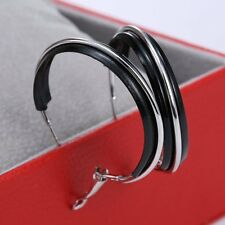 Elegant Big Women Black White Large Hoop Earrings Wives Ear Stud Gifts Jewellery
