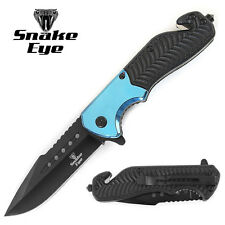 Snake Eye Tactical Survival Rescue Style Action Assisted Folding Knife BLUE