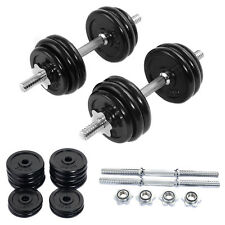 66 LB Weight Dumbbell Set Adjustable Cap Gym Barbell Iron Plates Body Workout