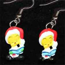 TWEETY BIRD EARRINGS-SANTA CHOIR BOOK-Funky Novelty Christmas Costume Jewelry