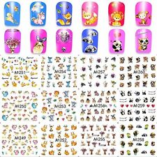 12 Sheets water transfer nail art decoration sticker decals cute animal design A