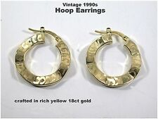 18ct Gold Hoop Earrings Very Nice Quality Vintage 18ct Yellow Gold  c1990s